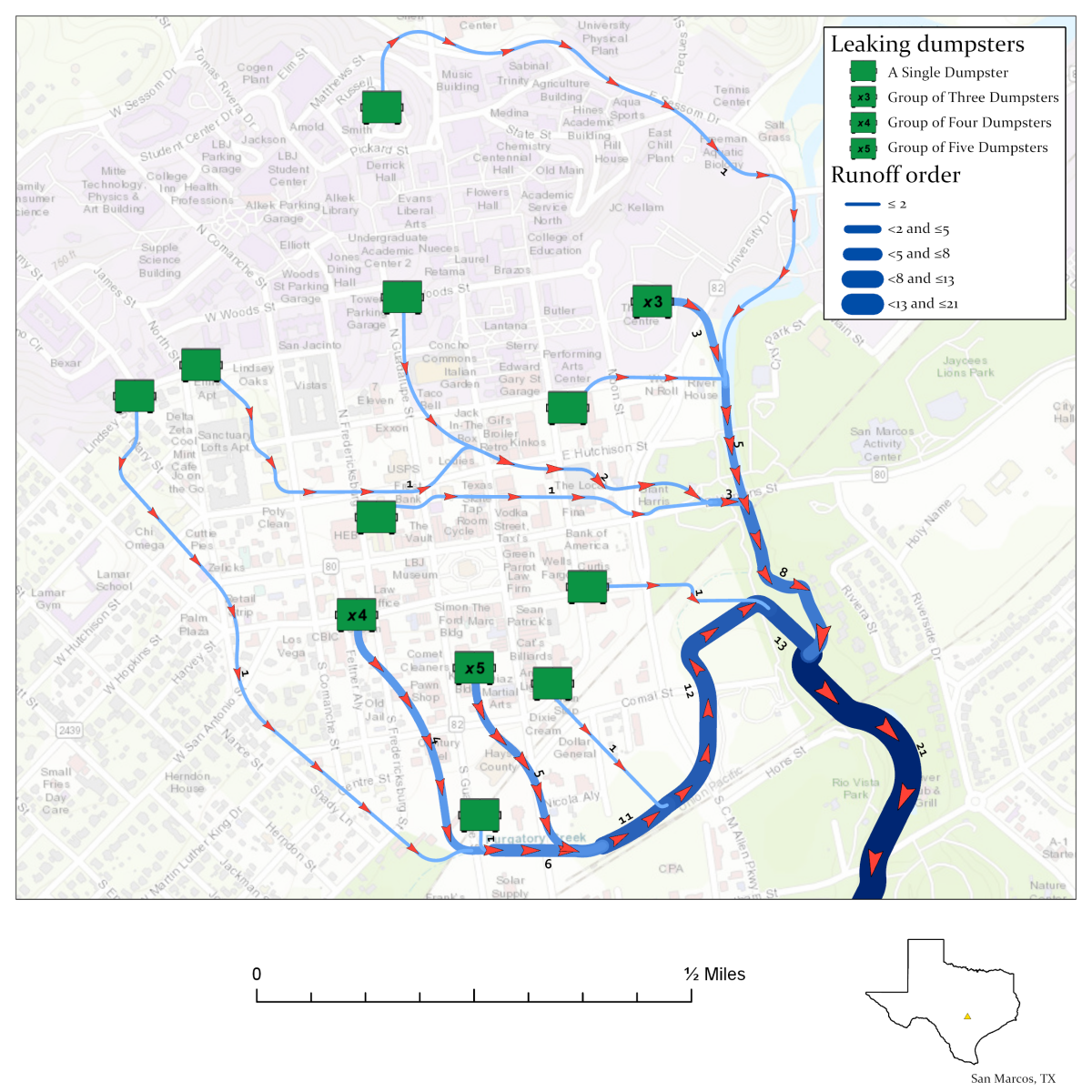 Estimated Paths of Runoff Originating from Leaking Dumpsters